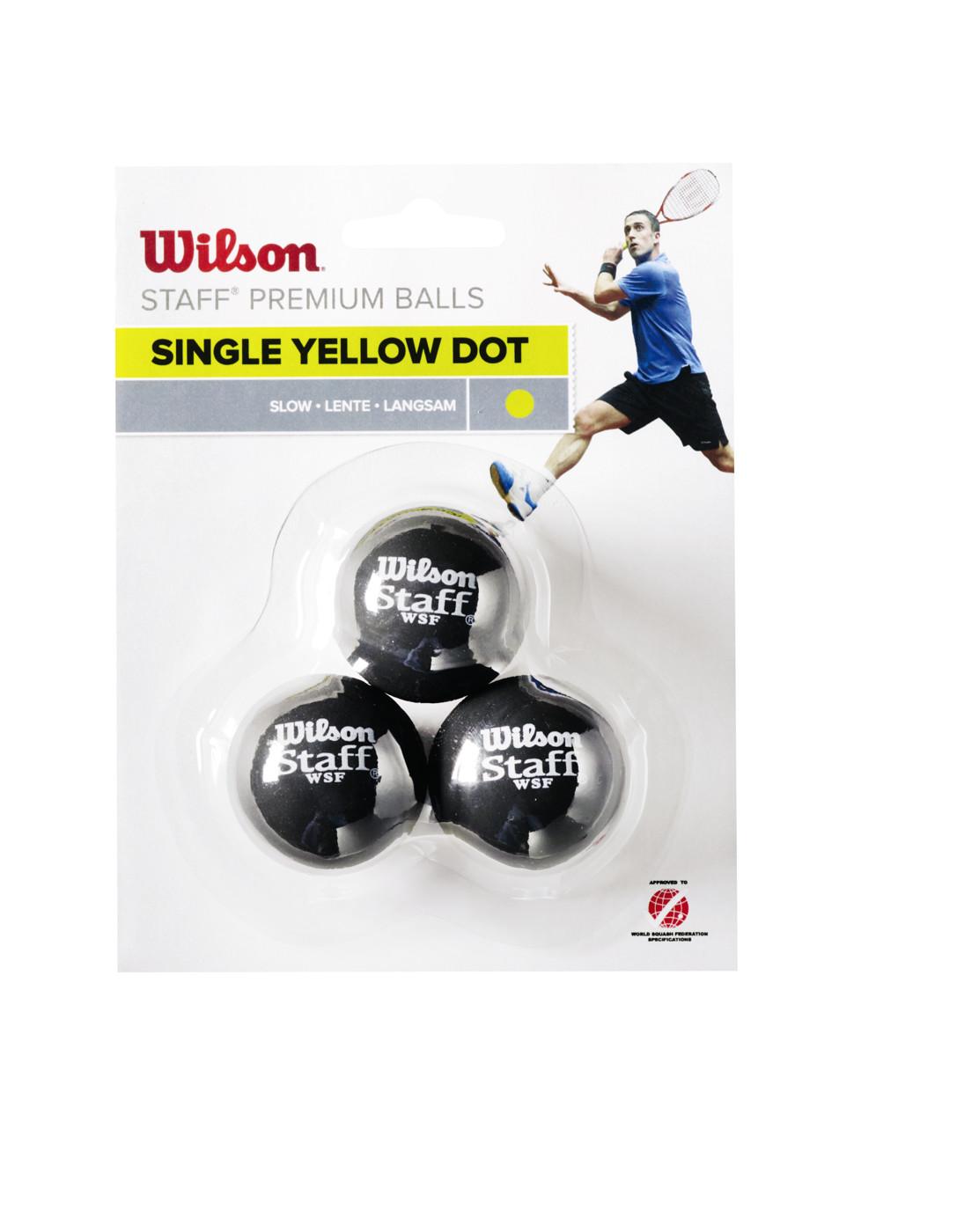 WILSON STAFF SQUASH 3 BALL YEL DOT
